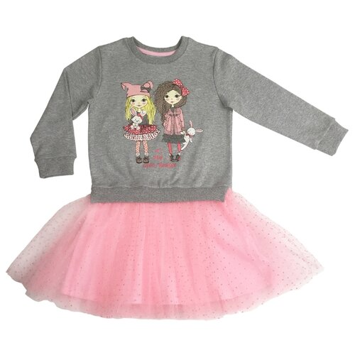 Платье Sonia Kids Маленький кролик размер 98, серый/розовый