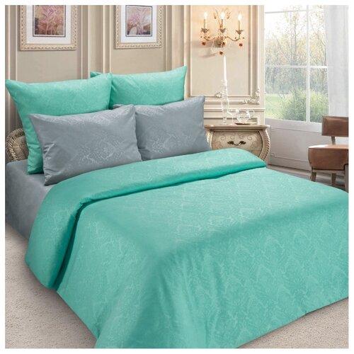 Постельное белье 2-спальное Letto PS132, полисатин, 70 х 70 см серый/бирюзовый