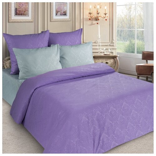 Постельное белье 2-спальное Letto PS136, полисатин, 70 х 70 см серый/фиолетовый