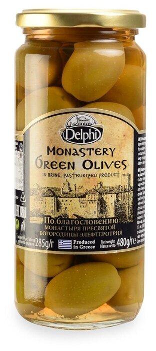 DELPHI Оливки с косточкой в рассоле Монастырские, стеклянная банка 480 г