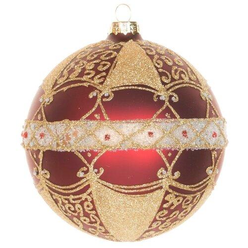Набор шаров KARLSBACH 06852, бордовый с золотым узором