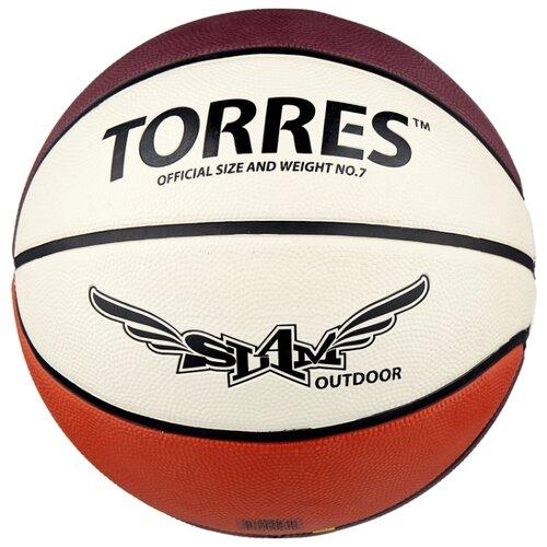 Баскетбольный мяч TORRES Slam, р. 7 бежевый/бордовый/оранжевый