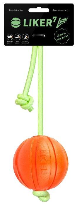 Мячик для собак LIKER Лайкер7 Люми на шнуре (6283)