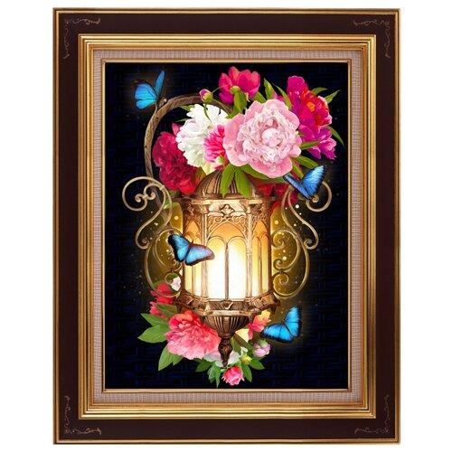 Алмазная живопись Набор алмазной вышивки Фонарь в пионах (АЖ-1720) 30x40 см