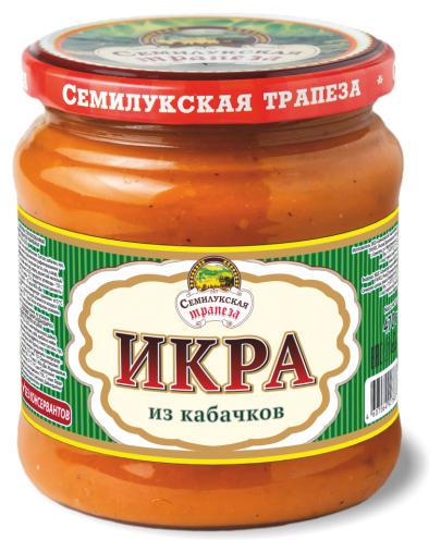 Овощная икра кабачковая Семилукская трапеза стеклянная банка 470 г