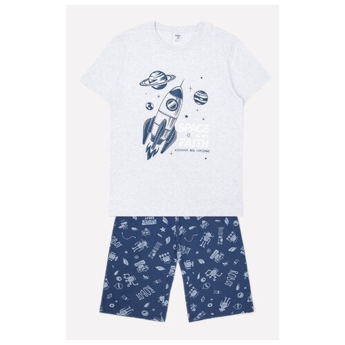 Пижама CUBBY размер 140, светло-серый меланж/темно-синий брюки luminoso размер 140 синий меланж