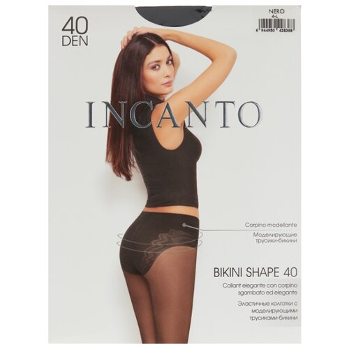 цена Колготки Incanto Bikini Shape 40 den, размер 4, nero (черный) онлайн в 2017 году