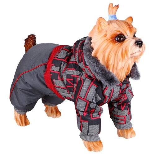 Комбинезон для собак DEZZIE 56356 мальчик, 30 см серый/красный/черный