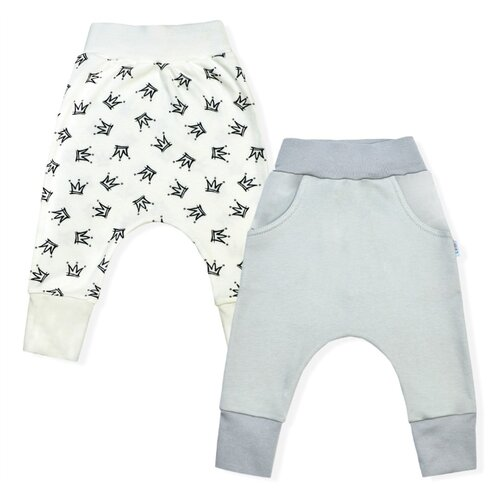 Купить Брюки LEO 1001А-25 размер 86, серый/молочный, Брюки и шорты