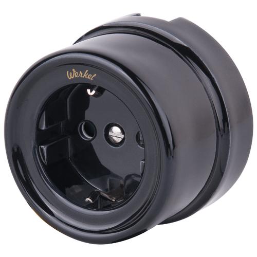 Розетка Werkel WL18-03-02 (a036816),16А, с защитной шторкой, с заземлением, черный розетка xiaomi mi smart plug wifi 16а с защитной шторкой с заземлением белый