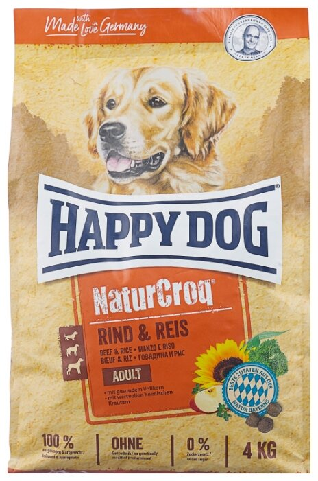 Корм для собак Happy Dog NaturCroq говядина с рисом 4 кг