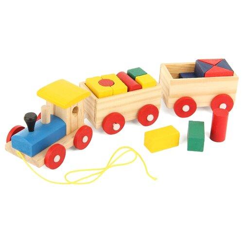Купить Каталка-игрушка Фабрика Фантазий Паровозик с фигурами Чух-Чух разноцветный, Каталки и качалки