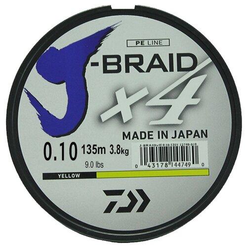 Плетеный шнур DAIWA J-Braid X4 yellow 0.1 мм 135 м 3.8 кг