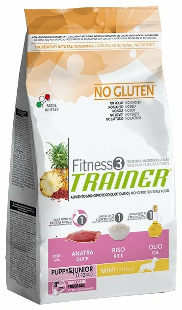 Корм для собак TRAINER (0.8 кг) Fitness3 No Gluten Puppy&Junior Mini Duck and rice dry