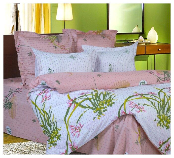 Постельное белье 2-спальное СайлиД B-70, сатин белый/розовый