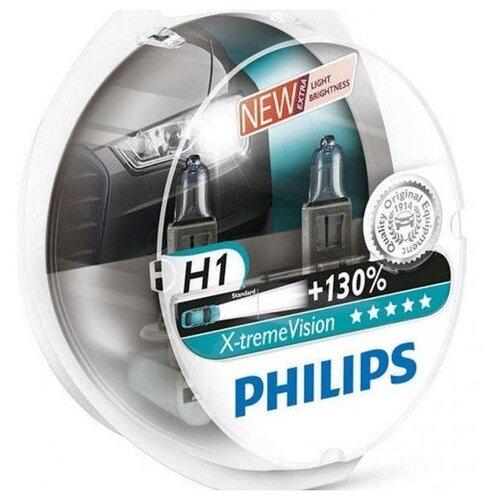 Лампа автомобильная галогенная Philips X-Treme Vision 12258XVS2 H1 12V 55W 2 шт. лампа галогенная philips h1 vision plus 12v 55w комплект 2шт 12258vps2