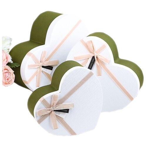Набор подарочных коробок Yiwu Zhousima Crafts Сердца, 3 шт зеленый/белый