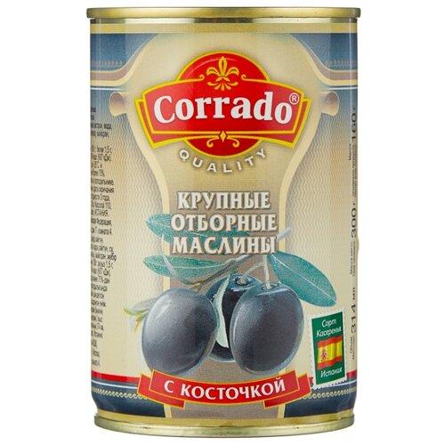 Corrado Маслины крупные отборные с косточкой в рассоле, жестяная банка 300 г iberica маслины мини с косточкой в рассоле жестяная банка 300 г