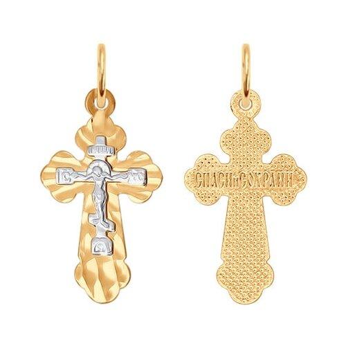 SOKOLOV Крест из комбинированного золота с алмазной гранью 121193