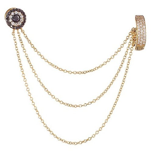 JV Золотые серьги с бриллиантами E-1589B-DB-YG