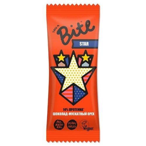 Фруктовый батончик Bite Star без сахара Горький шоколад и мускатный орех, 45 г фруктовый батончик r a w life без сахара макадамия 47 г
