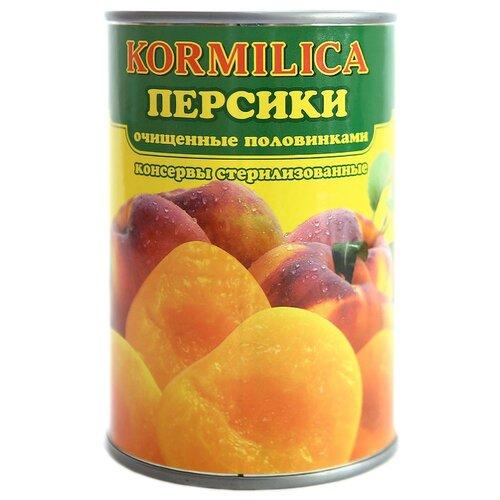 Консервированные персики Кормилица очищенные половинками, жестяная банка 425 г