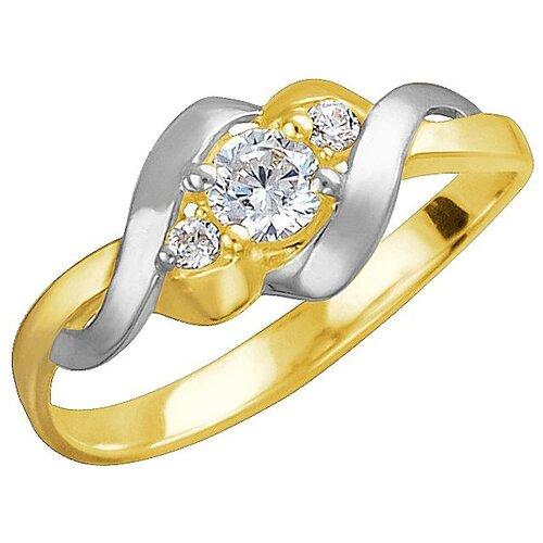Эстет Кольцо с 3 фианитами из жёлтого золота 01К1312308Р, размер 18