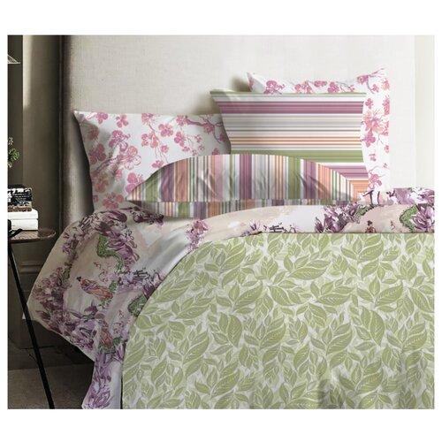 Постельное белье 1.5-спальное Mona Liza Japanese Grass 50х70 см, ранфорс зеленый/фиолетовый мона лиза постельное белье семейный mona liza mozaika