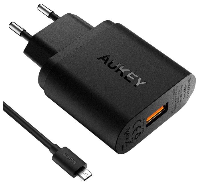 Сетевая зарядка Aukey USB Quick Charge 3.0 USB 18 Вт для iPhone XS Max,XR,X,8,8+, Galaxy S9,Note9,S8,S8+, PA-T9 (Черный цвет)