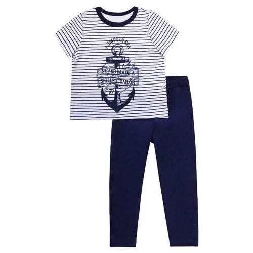 Пижама KotMarKot размер 128, белый/синий