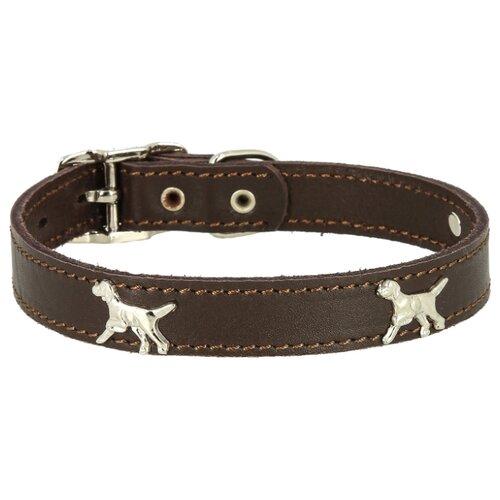 """Ошейник КАСКАД кожаный """"Флер"""", с украшением """"Собака"""" (12010126) 39-46 см коричневый"""