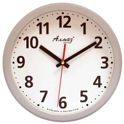 Часы настенные кварцевые Алмаз B43 серый/белый часы настенные кварцевые алмаз e66 серый