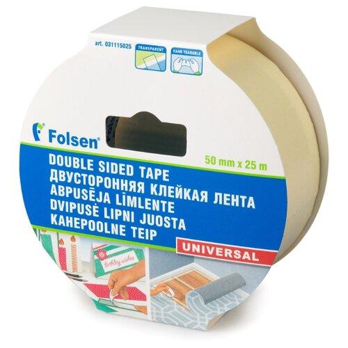 Клейкая лента универсальная Folsen 31115025, 50 мм x 25 м клейкая лента универсальная folsen 51044850 48 мм x 50 м