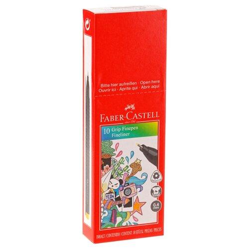 Купить Faber-Castell набор капиллярных ручек Grip Finepen 0, 4 мм 10 шт, черный цвет чернил, Ручки