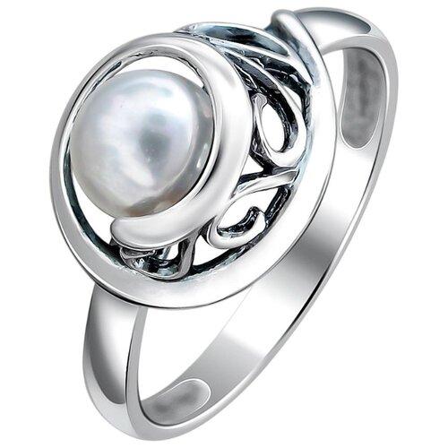 Эстет Кольцо с жемчугом из чернёного серебра Л9К259822Ч, размер 16.5 фото