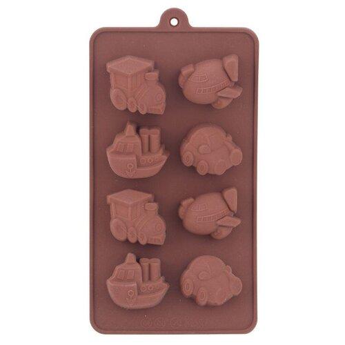 Форма для шоколада Мультидом Транспорт, 8 ячеек, коричневый по цене 305