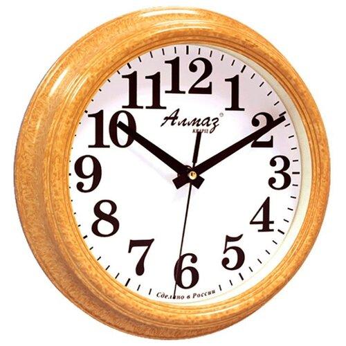 Часы настенные кварцевые Алмаз C51-C54 светло-коричневый/белый часы настенные кварцевые алмаз c51 c54 коричневый белый