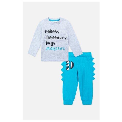 Комплект одежды playToday размер 74, светло-серый/голубой