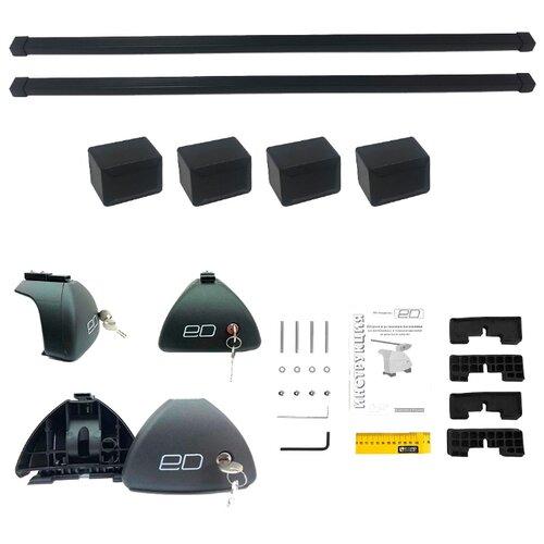 цена на Комплект дуг и опор Евродеталь на гладкую крышу для Ford Focus III (2011 - н.в.), сталь, с замком, 1.25 м черный