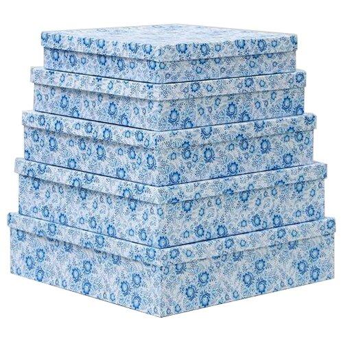 Набор подарочных коробок Мишель Фокс Гжель №14, 5 шт белый/голубой