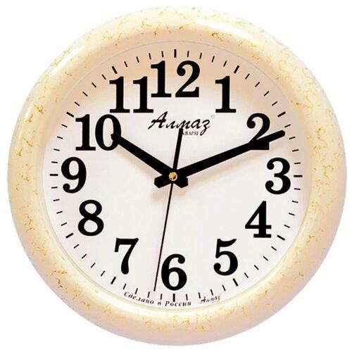 Часы настенные кварцевые Алмаз H09-H12 светло-бежевый/белый часы настенные кварцевые алмаз h32 h35 светло бежевый белый