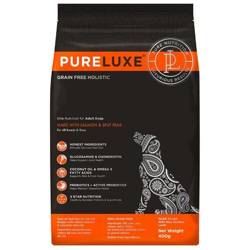 Корм для собак PureLuxe (0.4 кг) Elite Nutrition for adult dogs with salmon & split peas корм для собак pureluxe 0 4 кг elite nutrition for adult dogs with turkey