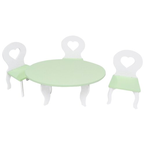 Купить PAREMO Набор мебели для кукол Шик (PFD120-49/PFD120-51/PFD120-48/PFD120-50/PFD120-47) белый/салатовый, Мебель для кукол
