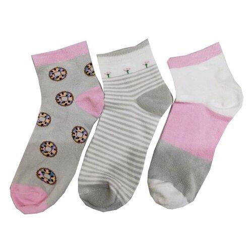 Носки АЙАС комплект 3 пары размер 9-10 лет, серый/белый/розовый