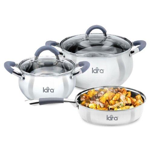 Фото - Набор посуды LARA LR02-102 Bell 5 пр. серебристый набор посуды из нержавеющей стали lara bell lr02 102 кастрюли 2 7 6 1 л сотейник 1 6 л 6 предметов