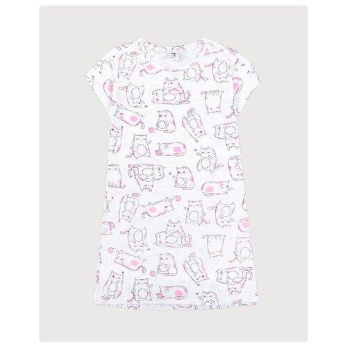 Купить Сорочка CUBBY размер 140, белый/розовый, Домашняя одежда
