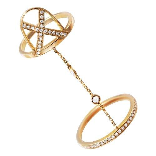 цена на JV Кольцо с 46 бриллиантами из жёлтого золота MR85186-WD-RSRD-YG-YG, размер 17