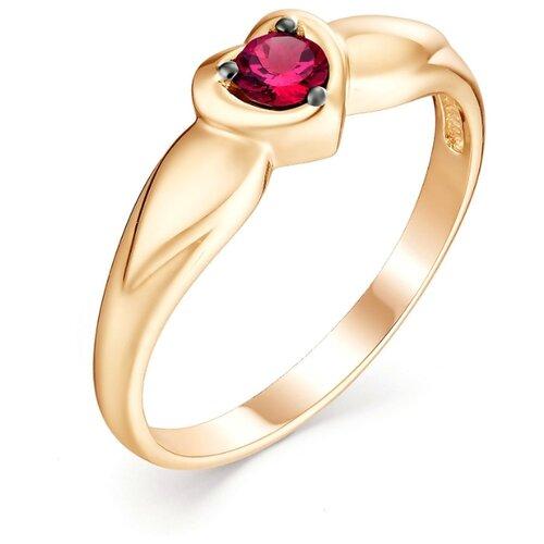 АЛЬКОР Кольцо Сердце с 1 рубином из красного золота 13006-103, размер 16.5 фото
