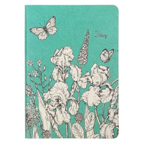 Ежедневник Канц-Эксмо In Bloom Графика недатированный, искусственная кожа, А6, 128 листов, зеленый