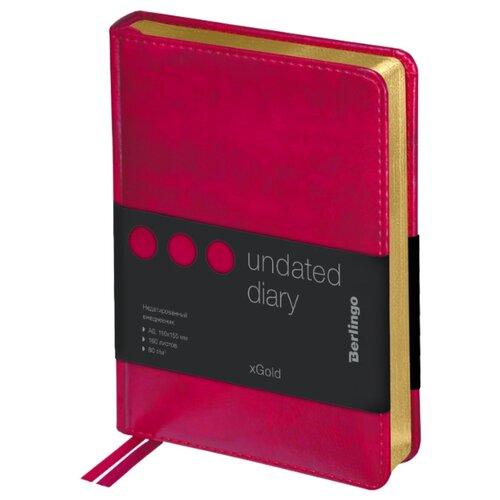 Купить Ежедневник Berlingo xGold недатированный, искусственная кожа, А6, 160 листов, фуксия, Ежедневники, записные книжки
